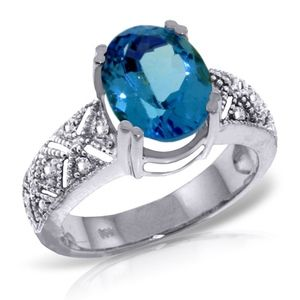 SOLID GOLD RINGS W/ NATURAL DIAMONDS & BLUE TOPAZ